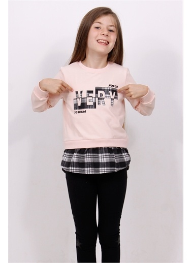 Toontoy Kids Toontoy Kız Çocuk Wery Ekose Nakışlı Sweatshirt Pudra